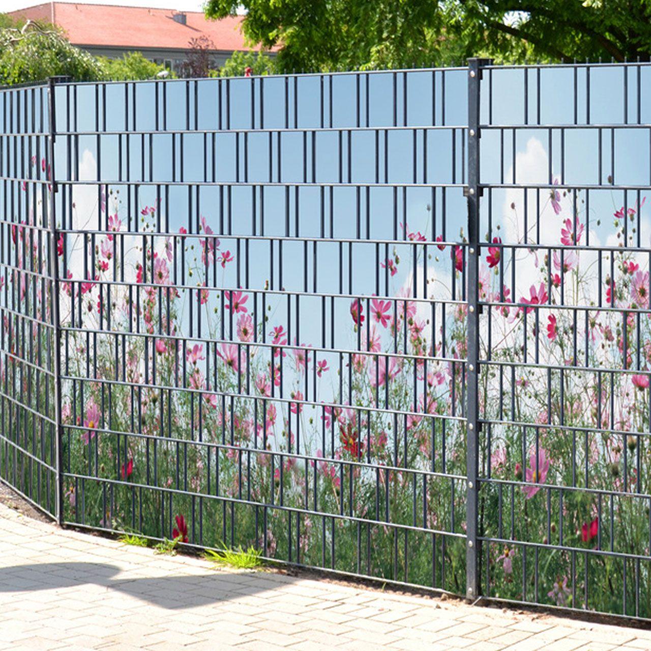 Sichtschutzstreifen bedruckt Motiv Sommerblumen rose