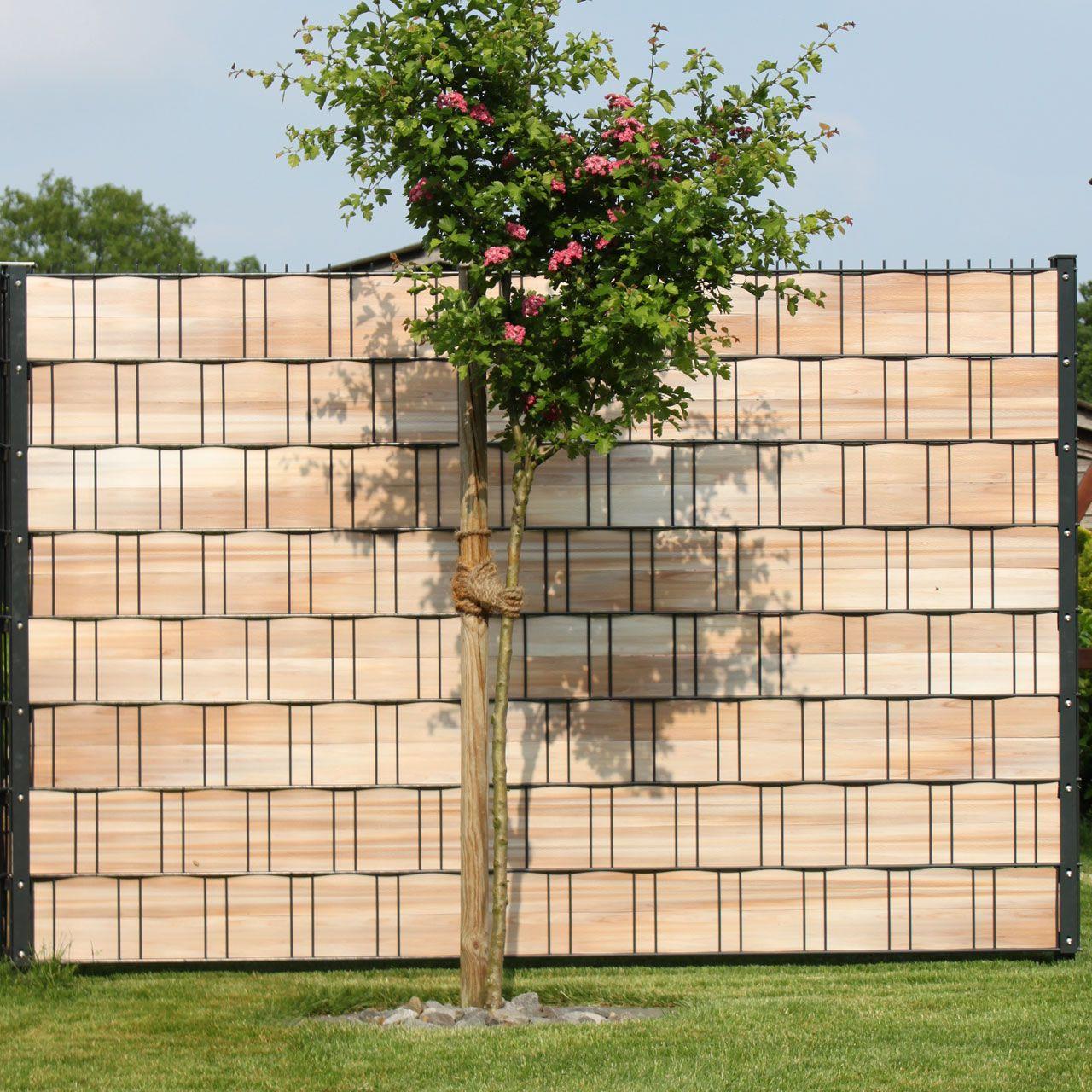 PVC Sichtschutzstreifen Woodline Hart Kunststoff hellbraun