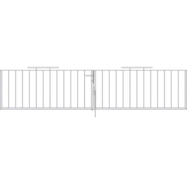Toranlage 2-flügelig - Metallzaun Gartenstraße Profil H: 90cm