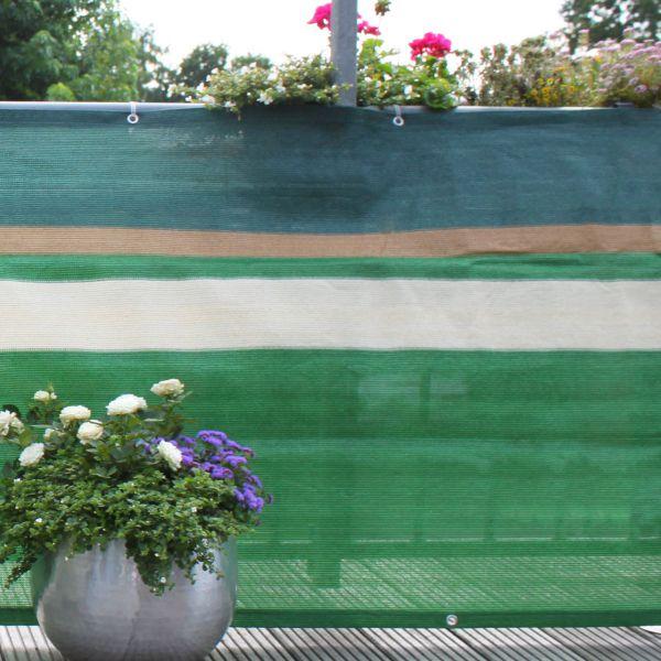 Balkonbespannung PE, Design grün/beige