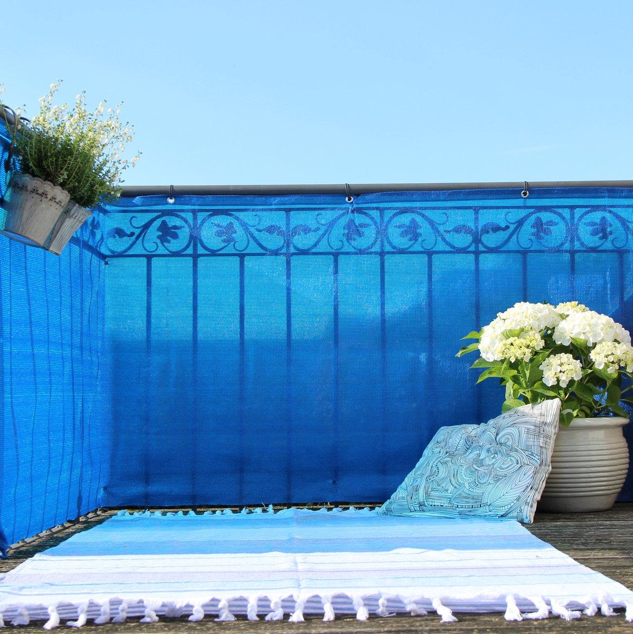 Balkonbespannung Pe Classic Blau Sichtschutz Welt De