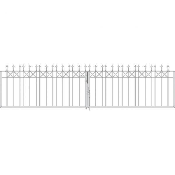 Toranlage 2-flügelig - Metallzaun Parkallee Classic Lilie H: 90cm