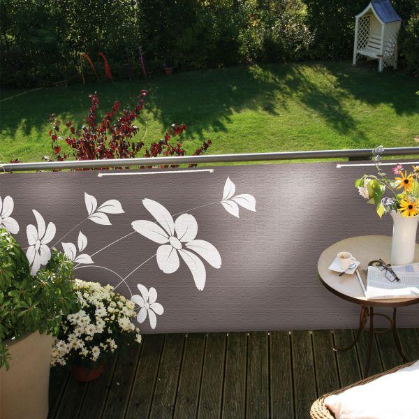 Balkonbespannung Blüten, taupe