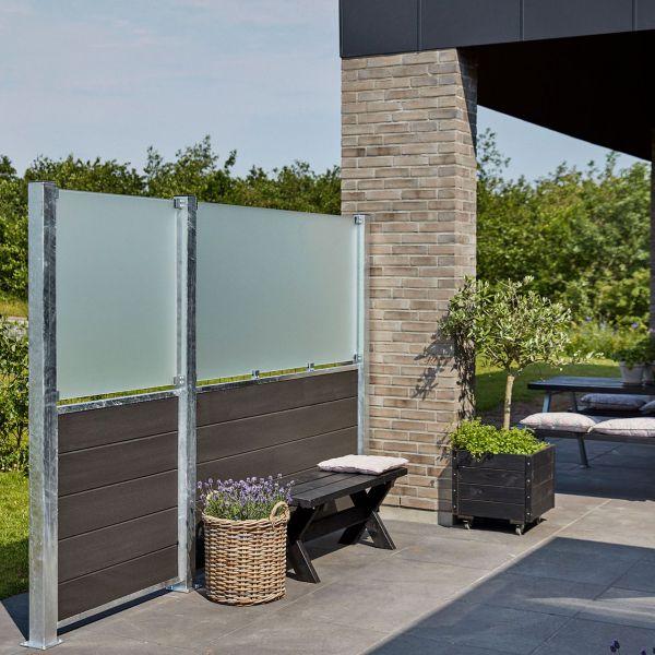 WPC Sichschutz-Zaun Futur, Glas 89 cm satiniert