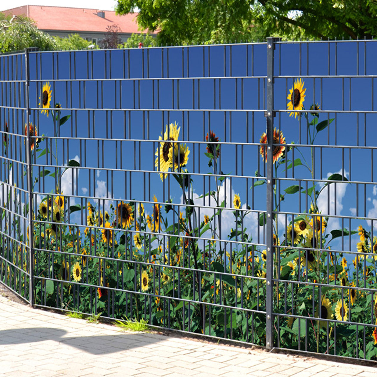 sichtschutzstreifen bedruckt motiv sonnenblumen gelb. Black Bedroom Furniture Sets. Home Design Ideas