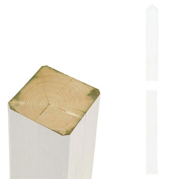 Premium Leimholzpfosten 9x9cm, Rund/Spitzkopf weiß