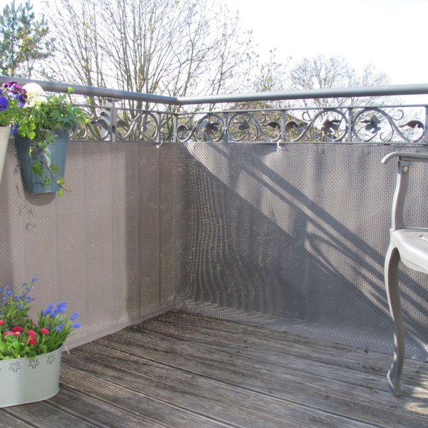 Balkonverkleidung Kunststoffgeflecht, titangrau