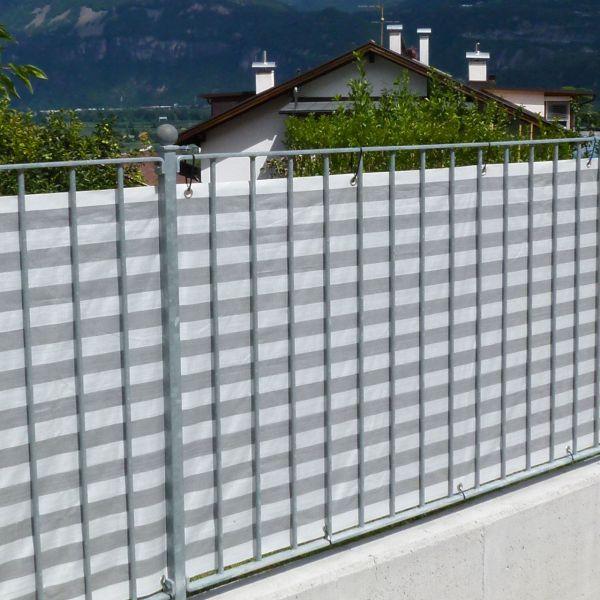 Balkonbespannung PP, grau/weiß