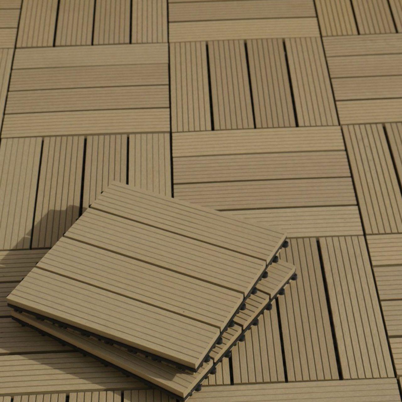 WPC Terrassen Fliesen teakfarben