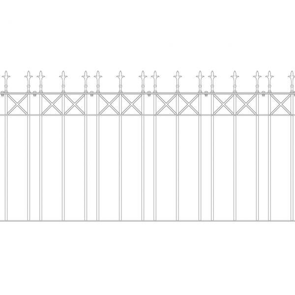 Zaunelement Sonderlänge - Metallzaun Parkallee Classic Lilie H: 150cm