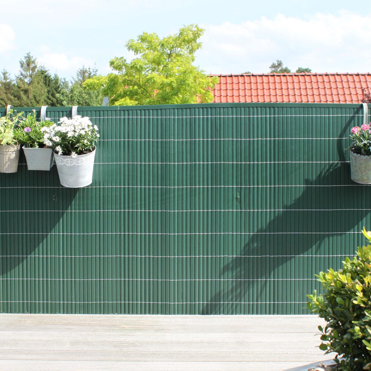 Sichtschutzmatte PVC Kunststoff Montageset Rügen grün