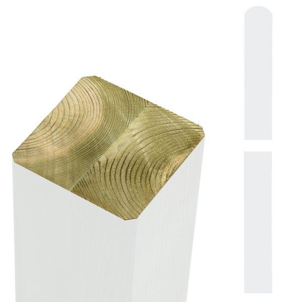 Premium Leimholzpfosten 9x9cm, Rundkopf weiß