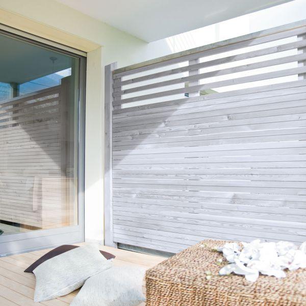 Sichtschutzwand Hochgebirgs-Lärche, Cubus mit Lichtausschnitt, alpin-grau