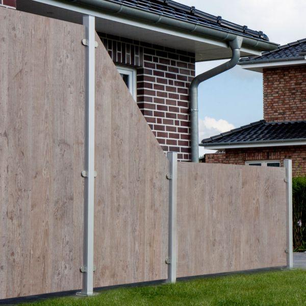 HPL Sichtschutzzaun Premium, Holzoptik