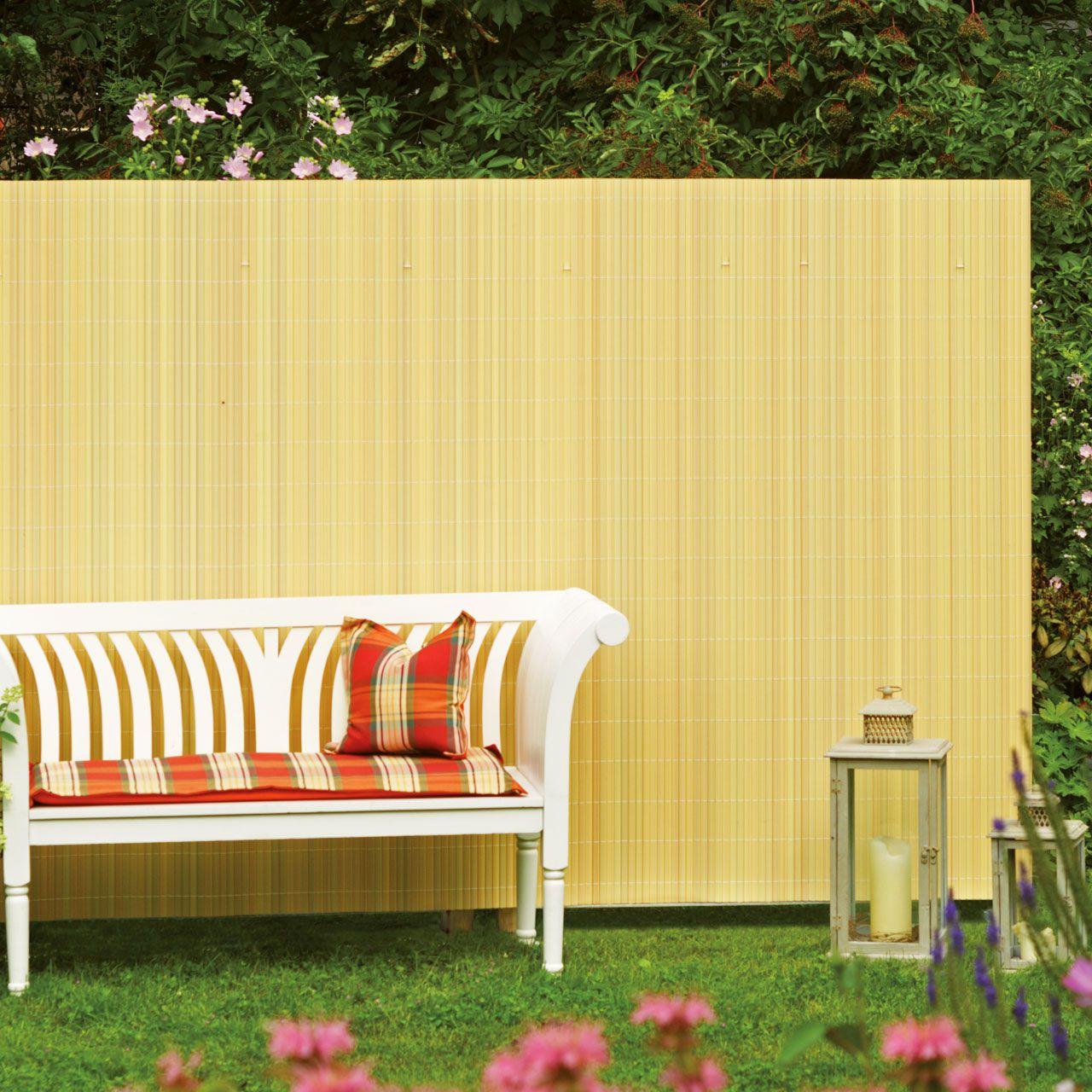 Sichtschutzzaun PVC Kunststoff Montageset Rügen bambus