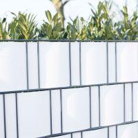 PVC Sichtschutzstreifen Doppelstabmattenzaun, Longlife weiß Höhe x Länge:19 x 200 cm