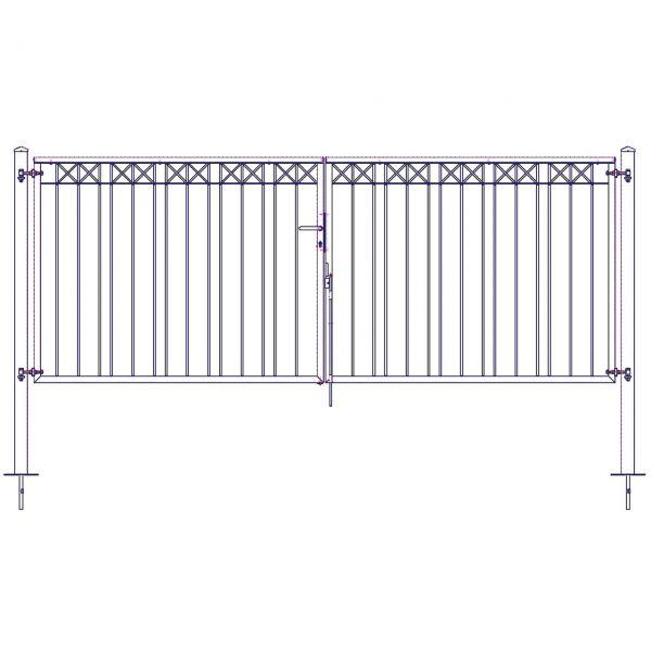 Metallzaun Parkallee H: 150cm, Toranlage 2-flügelig