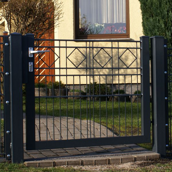 Gartentor Metall Schmuckzaun mit Raute 80cm