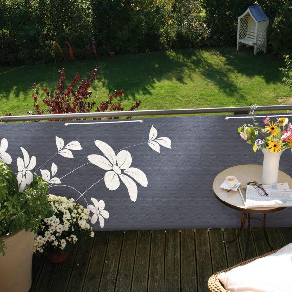 Balkonbespannung Blüten, anthrazit