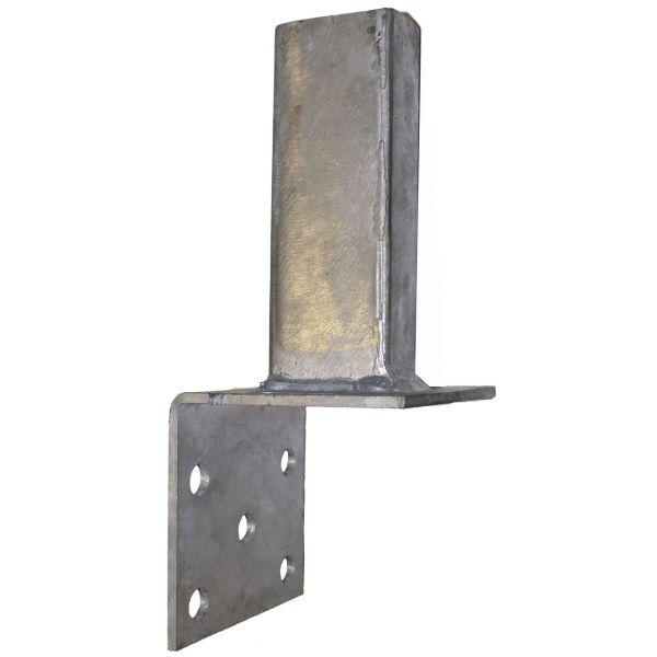 Montagefuß zum Aufdübeln für Pfosten 60x40 mm auf L-Steine, feuerverzinkt