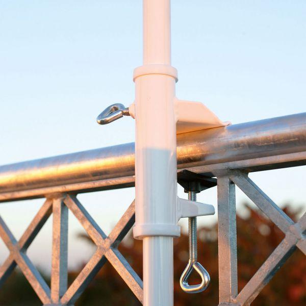 Sonnenschirmhalter Videx® für Balkon-Handlauf, weiß