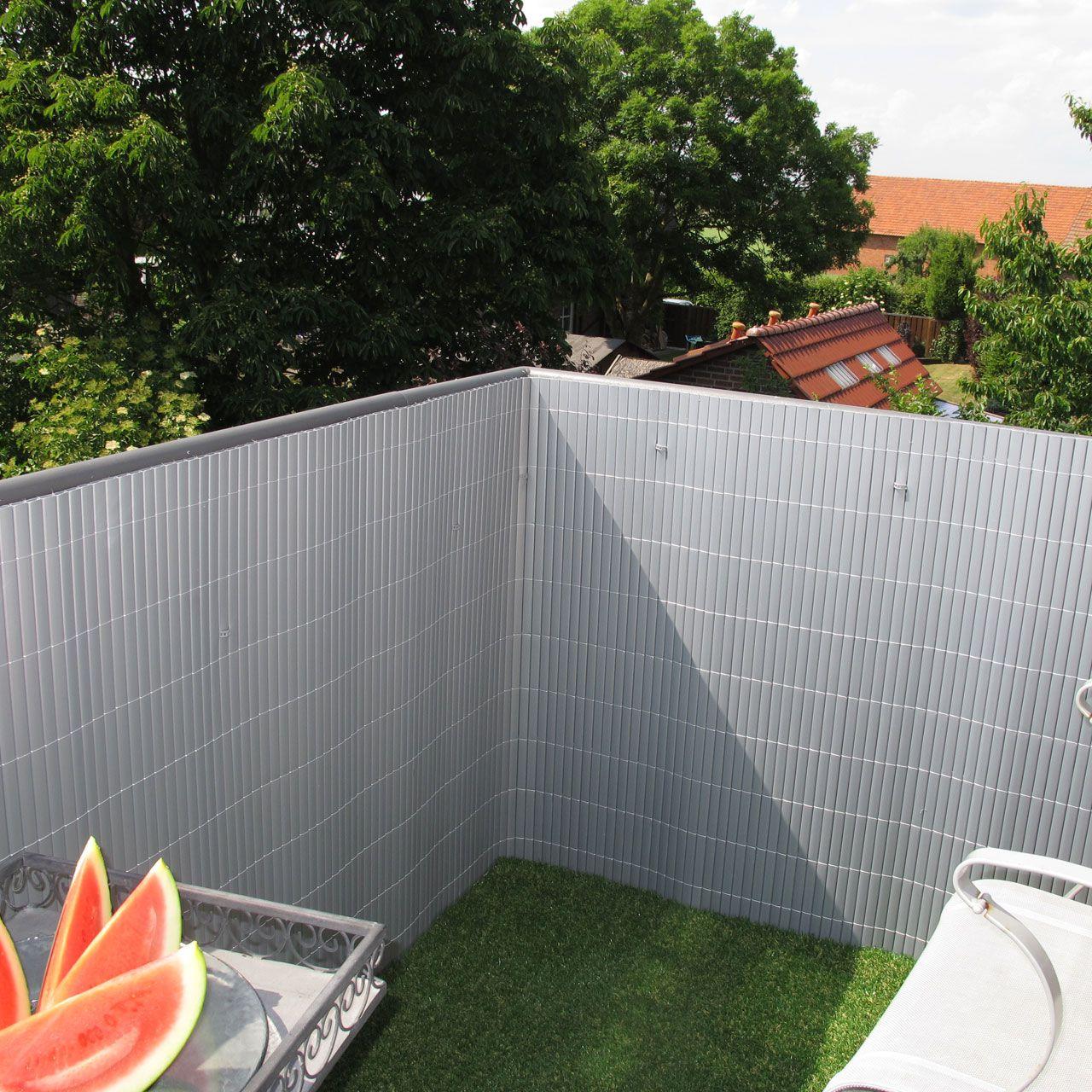 Sichtschutzzaun PVC Kunststoff Rügen aluminium