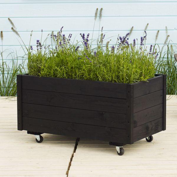 holz blumenk bel auf rollen 88 x 48cm schwarz. Black Bedroom Furniture Sets. Home Design Ideas