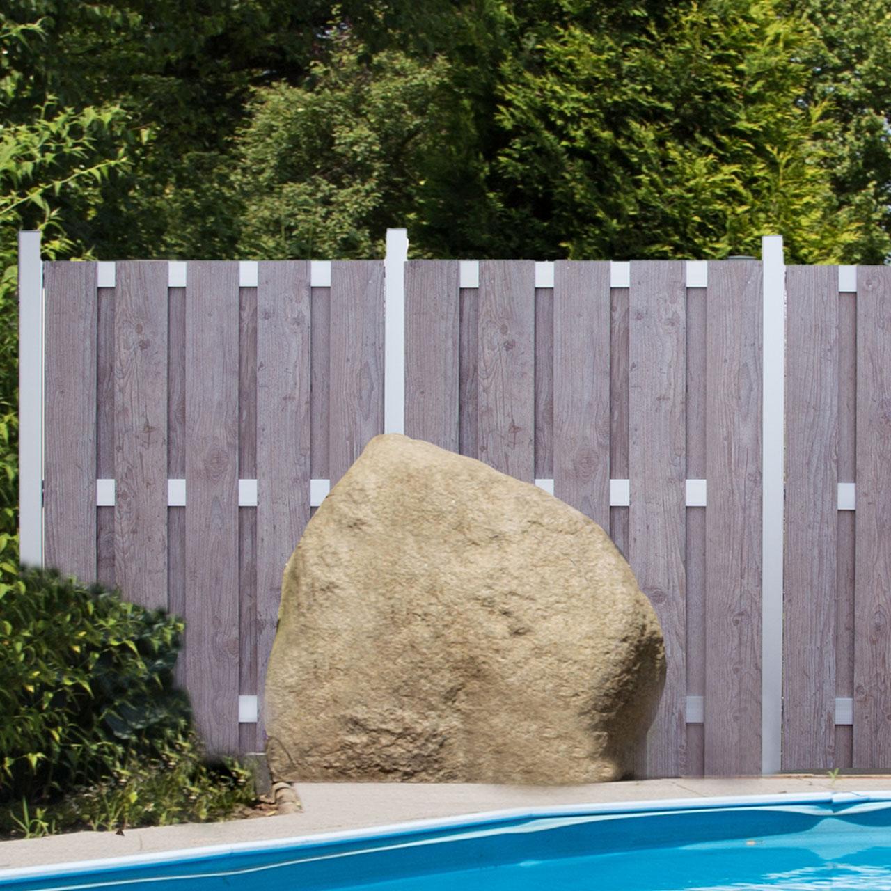 Hpl Sichtschutzzaun Premium Holzoptik Grau