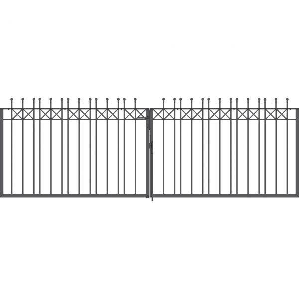 Toranlage 2-flügelig - Metallzaun Parkallee Classic Kugel H: 120cm