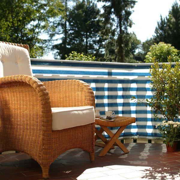 Balkonbespannung PE, Classic blau/weiß