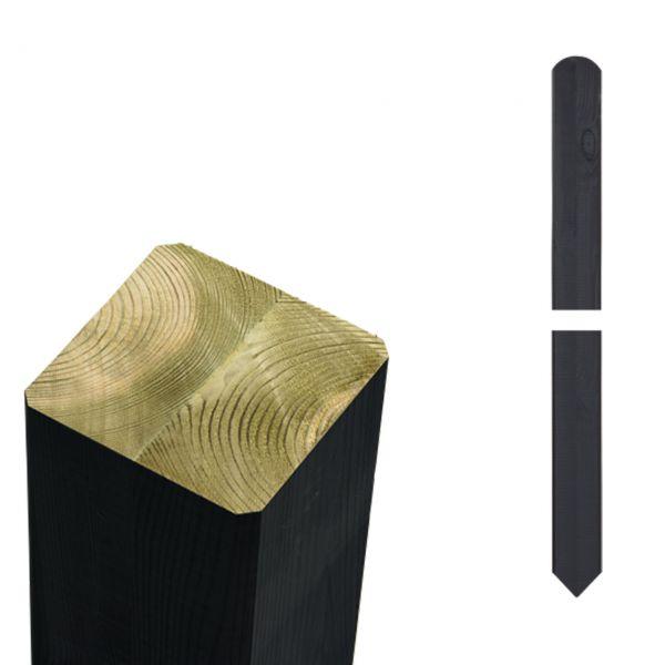 Leimholzpfosten 7x7cm, Rund/Spitzkopf schwarz
