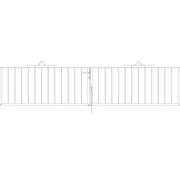 Toranlage 2-flügelig - Metallzaun Gartenstraße Dreieck H: 90cm