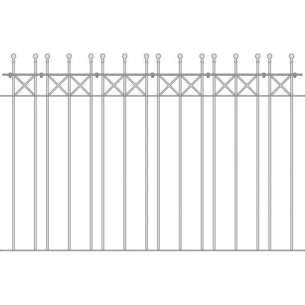 Zaunelement Sonderlänge - Metallzaun Parkallee Classic Kugel H: 120cm