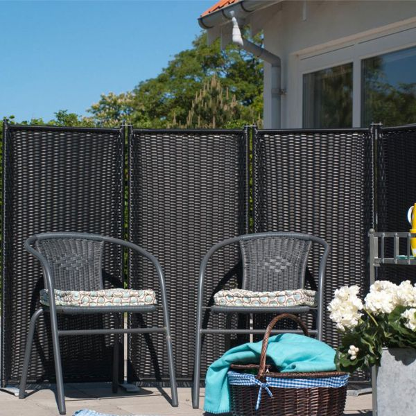 paravent trend 4 teilig polyrattan anthrazit. Black Bedroom Furniture Sets. Home Design Ideas