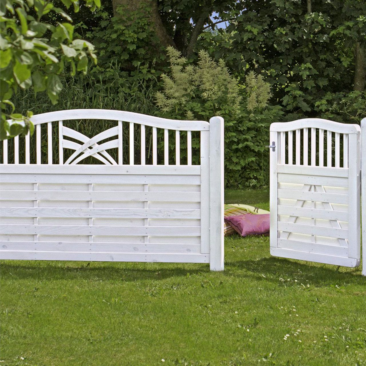 Holz Sichtschutz Zaun Ronda weiß
