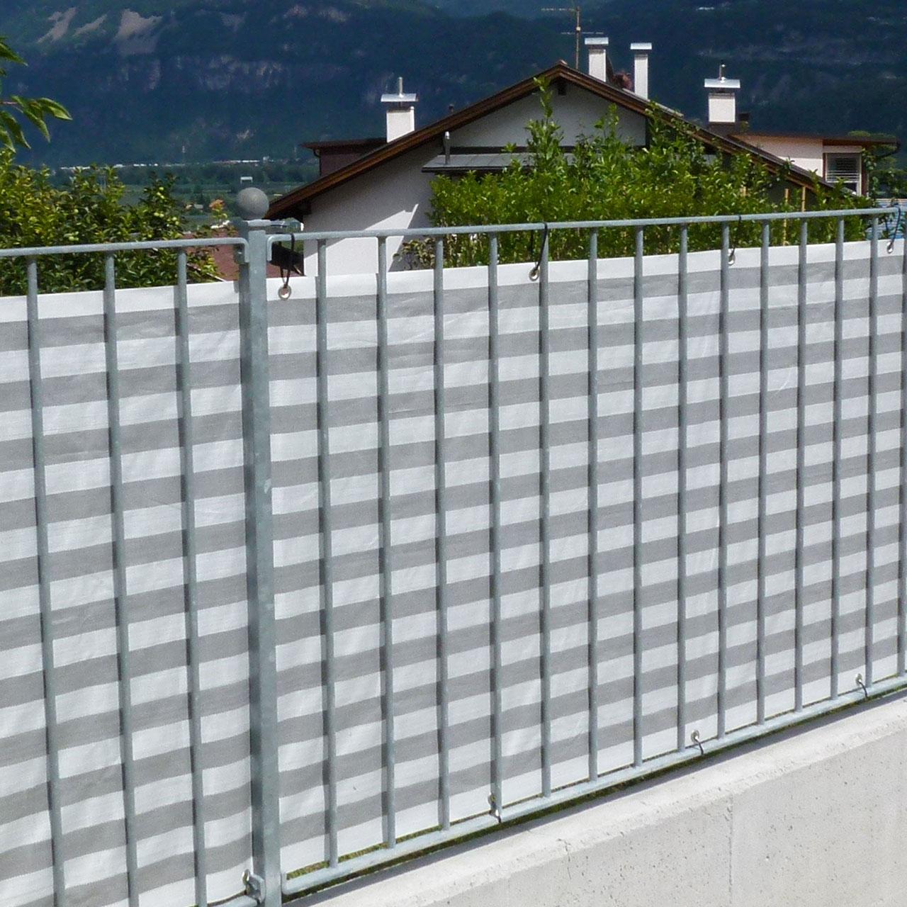 balkonbespannung pp grau wei sichtschutz. Black Bedroom Furniture Sets. Home Design Ideas