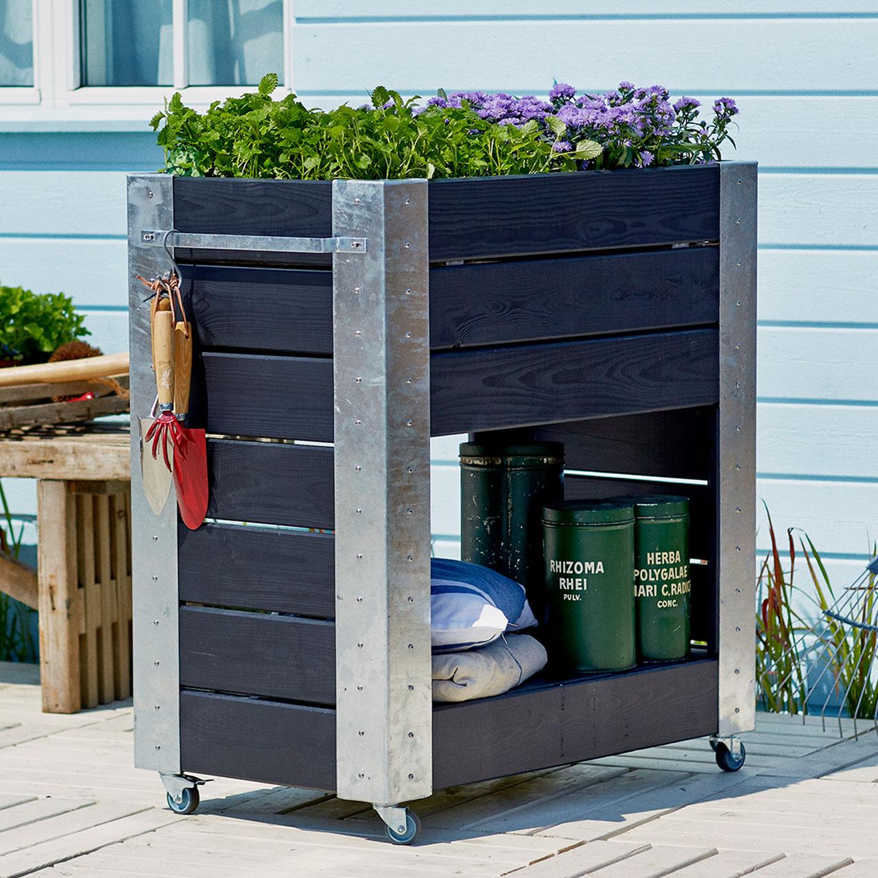 mobiler blumenkasten cubic rechteck mit regal h 95 cm. Black Bedroom Furniture Sets. Home Design Ideas