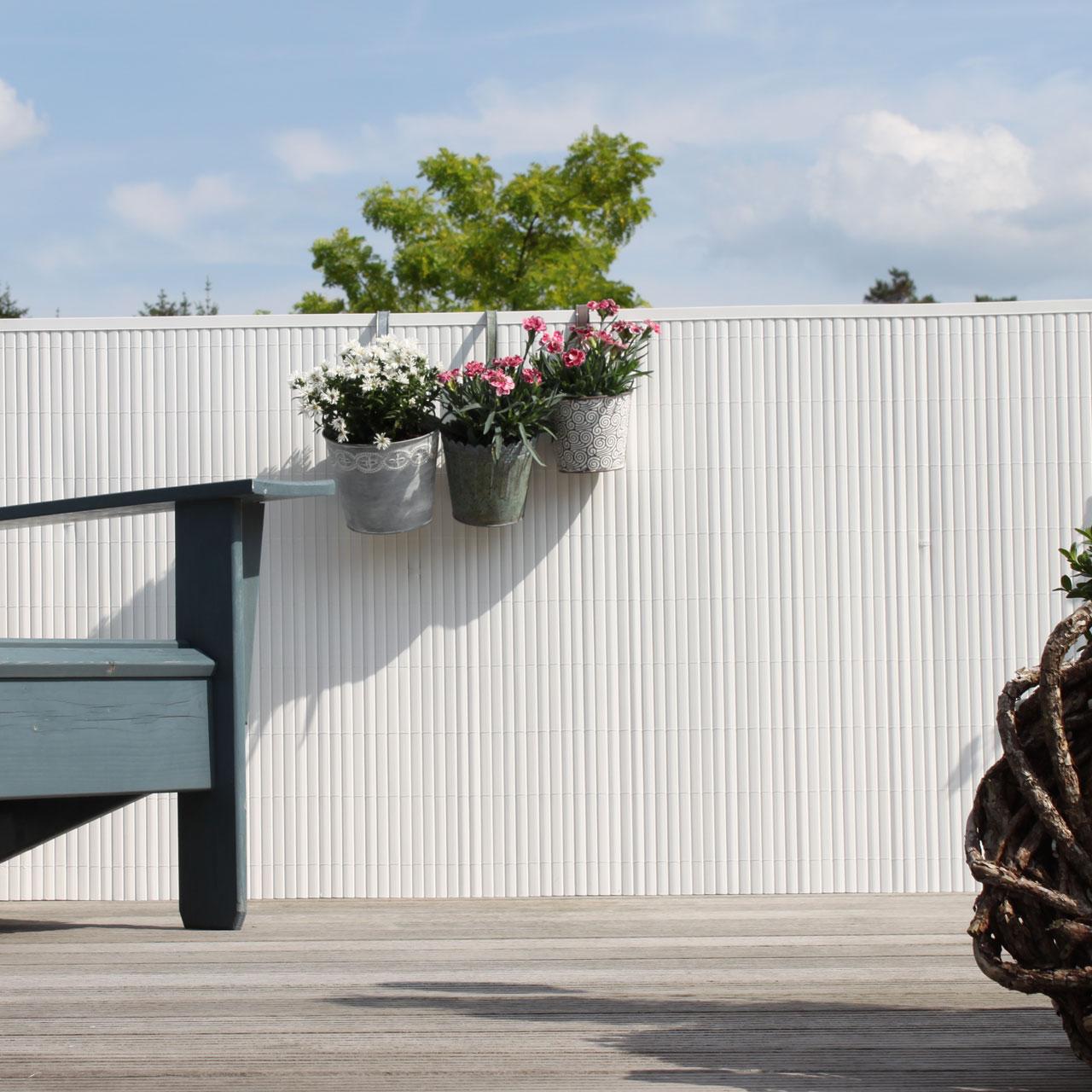 Sichtschutzmatte PVC Kunststoff Rügen weiß