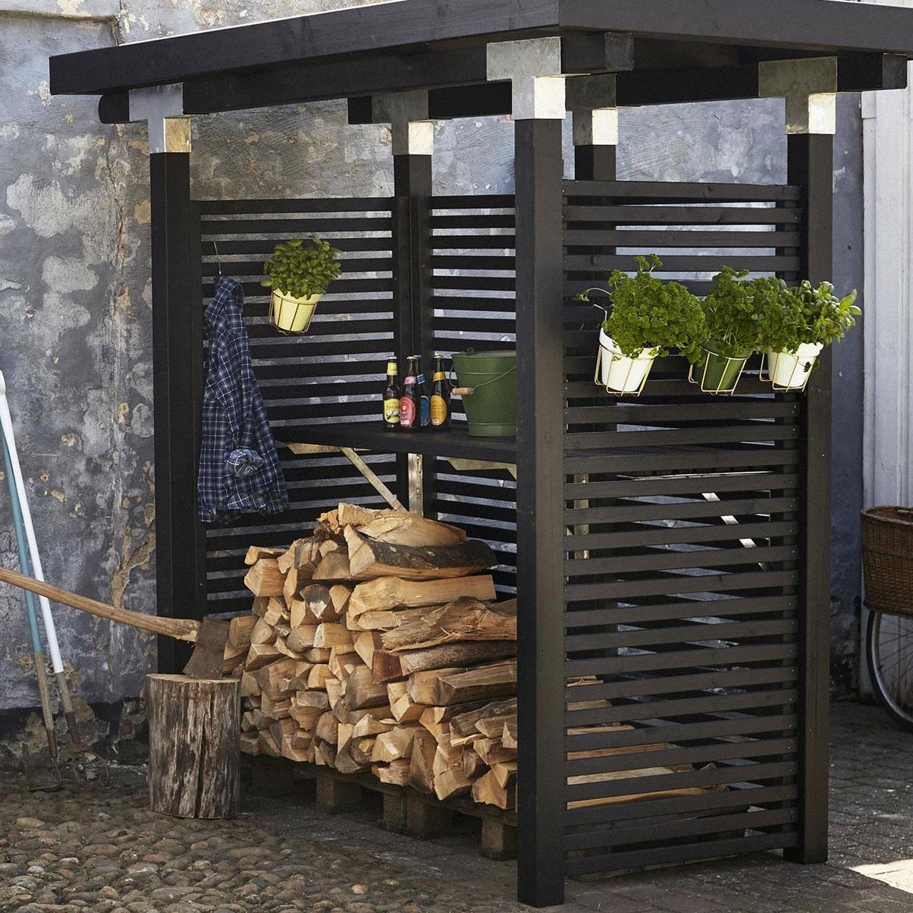 Holz Sichtschutz Zaun Toyko Schwarz