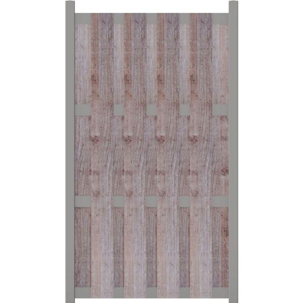 HPL Sichtschutzzaun gelattet, Holzoptik grau
