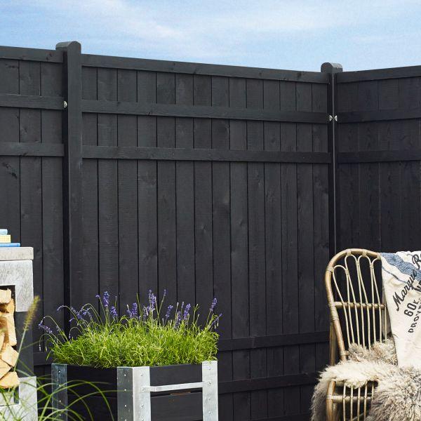 sichtschutzwand holz rustig schwarz sichtschutz. Black Bedroom Furniture Sets. Home Design Ideas
