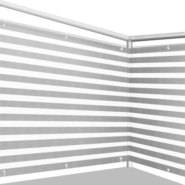Balkonbespannung PE, Classic grau/weiß