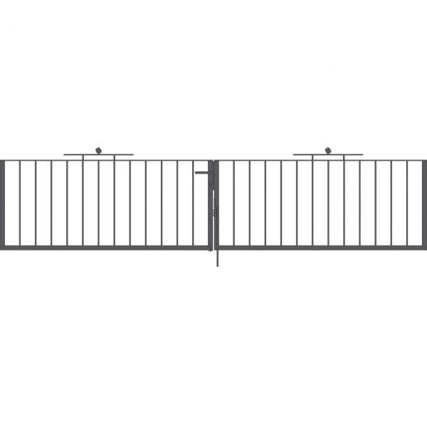 Toranlage 2-flügelig - Metallzaun Gartenstraße Würfel H: 90cm