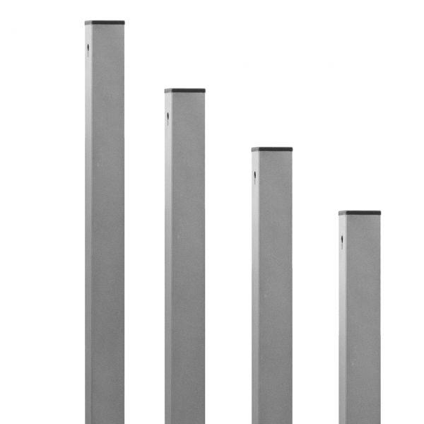 Aluminium-Pfosten, 7x7cm für Geflecht-Sichtschutzwände, alufarben