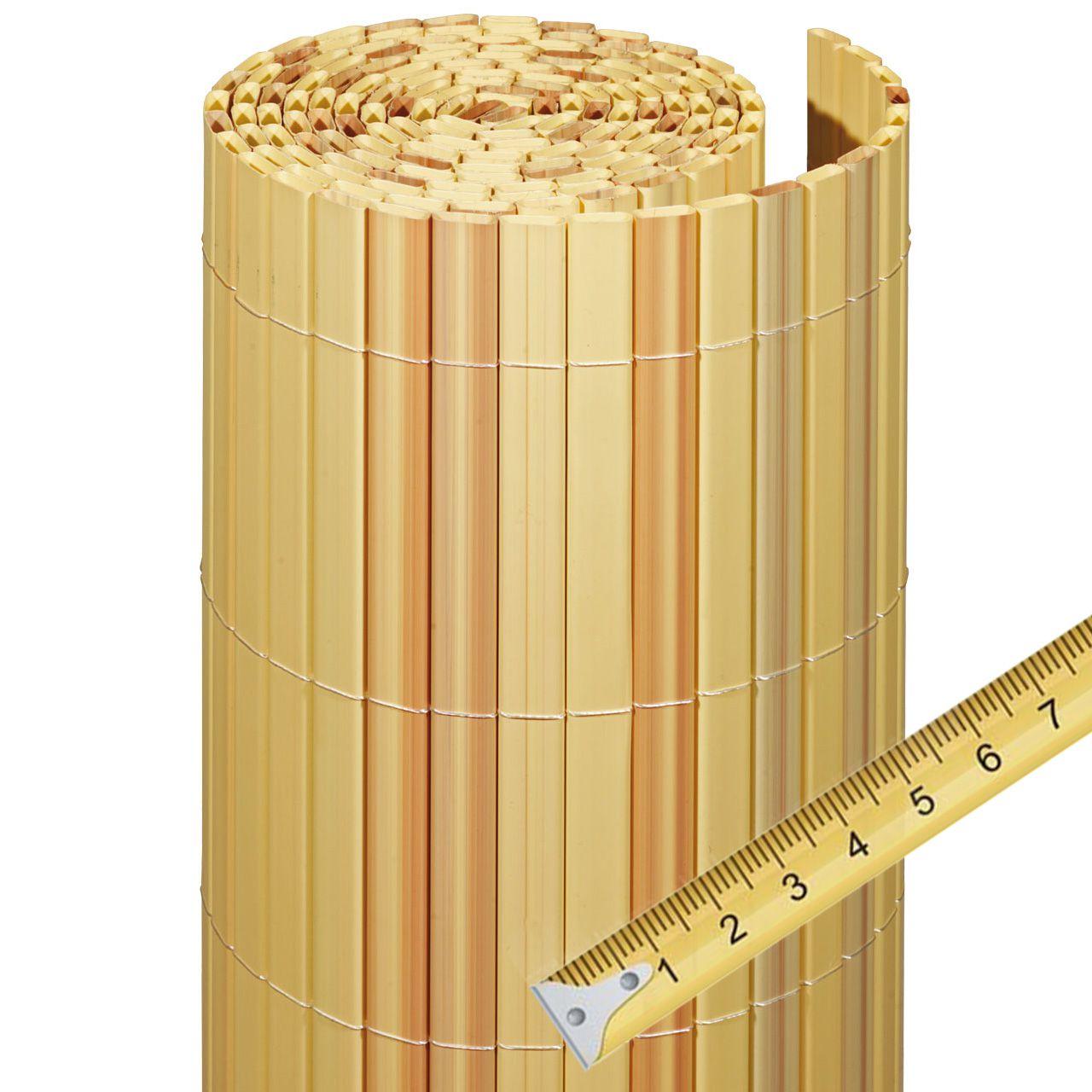 Sichtschutzzaun PVC Kunststoff Meterware Rügen bambus