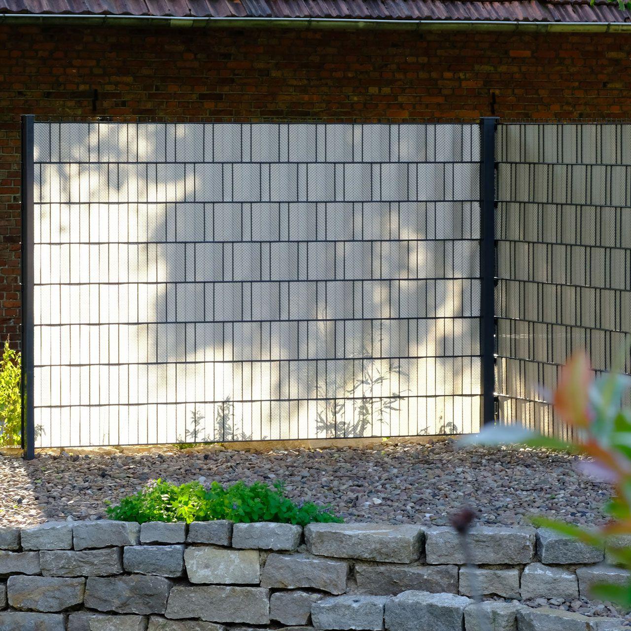 Polyrattan Sichtschutzstreifen platin grau