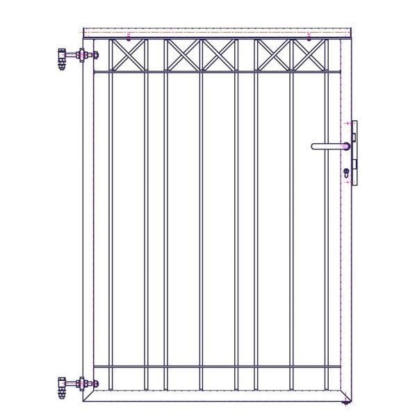 Metallzaun Parkallee H: 150cm, Pforte
