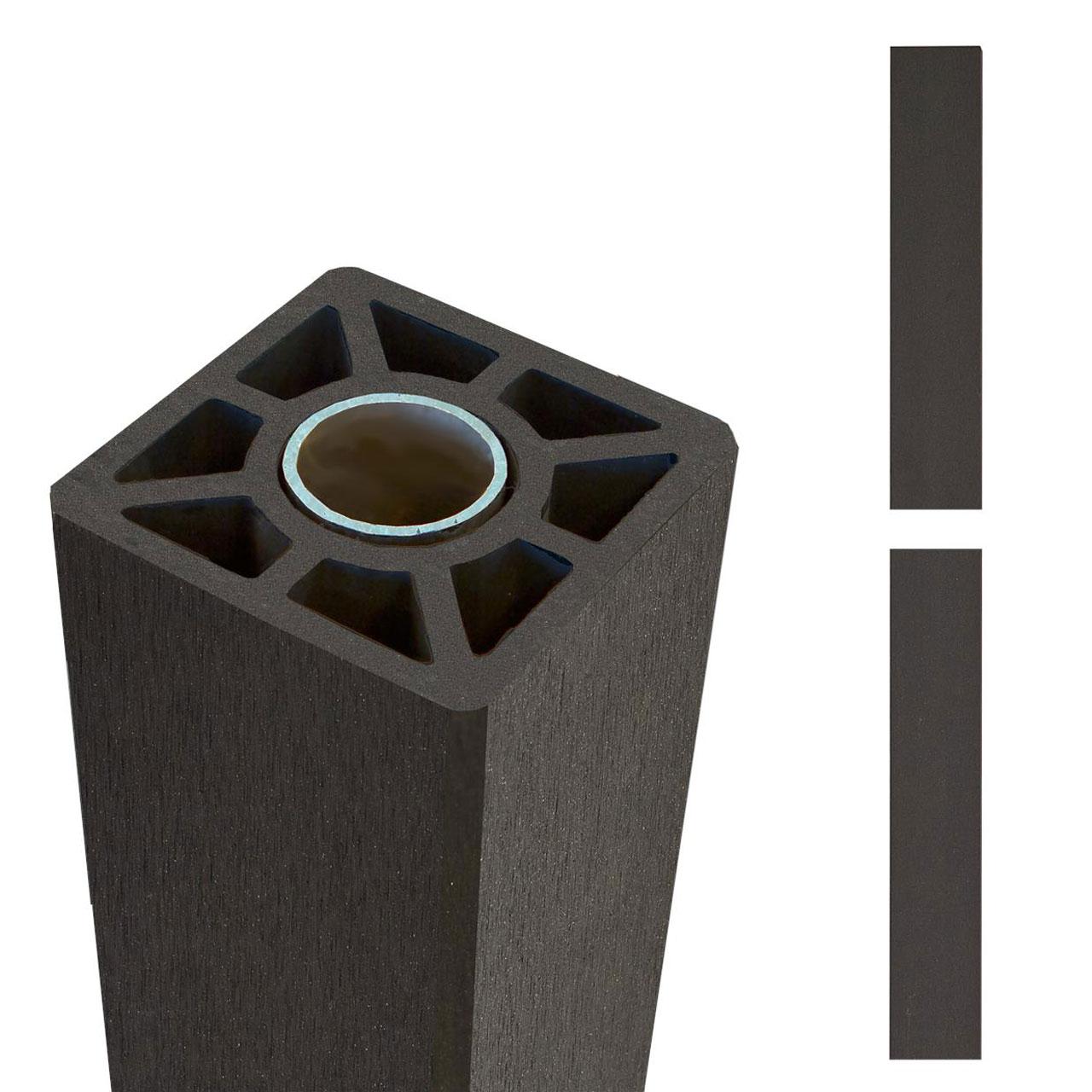 wpc pfosten stahlkern 9x9cm schiefergrau sichtschutz. Black Bedroom Furniture Sets. Home Design Ideas