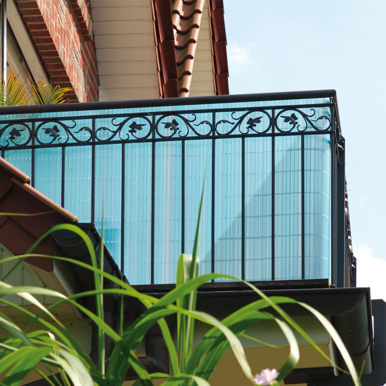 Sichtschutzzaun PVC Kunststoff Montageset Sunline azur