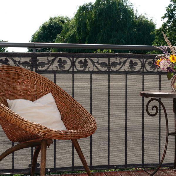 Balkonbespannung PE Classik, bicolor beige/grau